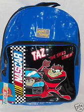 """NEW WITH TAGS LOONEY TUNES BLUE NASCAR KIDS TAZ BACKPACK 15"""" X 11"""" X 3"""""""