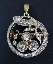 Pendant Necklace Brooch Georgian 2ct. Diamond Clover