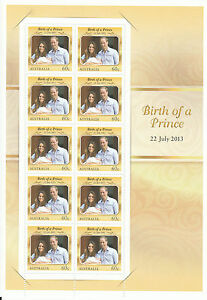 Australia 2013 MNH Birth of Prince 10v Sheet George Royal Baby William Kate