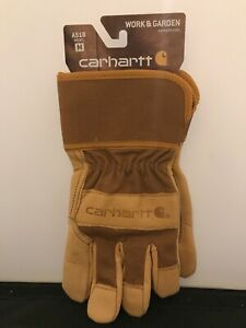 Carhartt Brown Mens Gloves Sz.M Work And Garden Heavy Duty Leather Utility A518