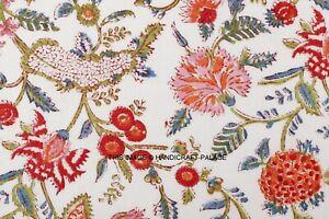 Par 6.4m Coton Voile Main Bloc Tissu Imprimé Naturel Colorants Sanganer Indien