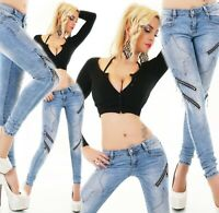 ORIGINAL Damen Jeans Hose Röhrenjeans Skinny Strass Sterne Zip Stretch XS-XL