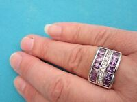 925 Sterling Silver Ring With Amethyst And Topaz UK R 1/2 US 8.75 (rg1853)