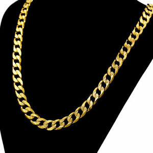 """18ct Yellow Gold Filled Men's 20.5"""" 6mm Necklace Chain  Gift Bag"""