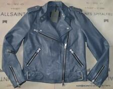 All Saints Atkinson Leather Biker Jacket Size 6 in Slate Blue BNWT £318