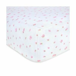 Burt's Bees Baby Organic Cotton Fitted Jersey Crib Sheet Blossom Pink 28 x 52''