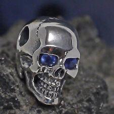 dr. skull Ketten Anhänger 925 Silber echt Saphir Augen Totenkopf Biker Gothic 04
