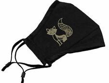 Fancy Fox Cotton Face Mask w/ Filter Pocket ClothReusable Washable Black