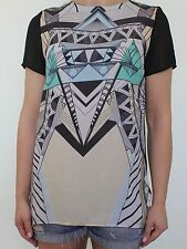 Short Sleeve Crew Neck Geometric Blouse Women's Tops & Shirts