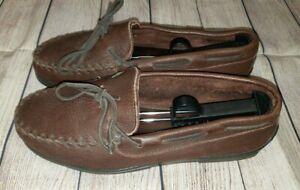 Minnetonka Leather Hard Sole Slippers Men's Size 9-9.5 Full Grain Dark Brown