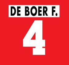 F De Boer #4 Ajax 1995-1996 Home Football Nameset for shirt