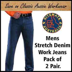 MENS STRETCH DENIM WORK JEANS <PACK of 2 PAIR>14 SIZES.RITEMATE PILBARA RM110SD