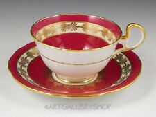 Vintage Aynsley England MAROON TEA CUP AND SAUCER GOLD ENCRUSTED ROSE FLOWERS