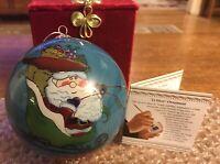 Pier 1 LI BIEN 2013 Santa and Reindeer Hand Painted Christmas Ornament MIB