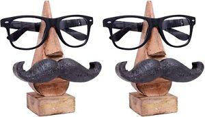 Wooden Eyeglass Spectacle Holder Handmade Mustache Display Stand Set of 2 Pcs