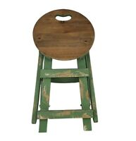 Green Folding Wooden Step Stool Garden Plant Stand Home Decor Seat Chair