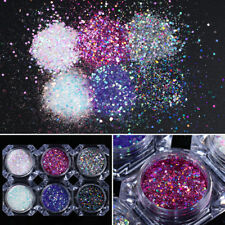 Hexagon Holographic Nail Art Glitter Powder Sequins Decoration Tips 6 Boxes