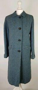 #B5 LADIES VINTAGE HARRIS TWEED SCOTTISH WOOL BLUE OVERCOAT LONG JACKET, UK 12