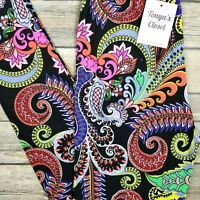 Abstract Paisley Leggings Colorful Floral Printed Buttery Soft ONE SIZE OS