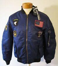 NWT Fried Denim Mens Premium Multi Style Baseball Bomber Jacket M Navy MSRP$70