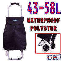 Eagle BLACK Lightweight Hard Wearing 2 Wheel Shopping Waterproof Trolley Cart