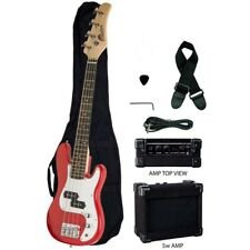 "Raptor EB38 3/4 Size 38"" Kids Junior Electric 4 String P Bass RED + Gig Bag, Amp"