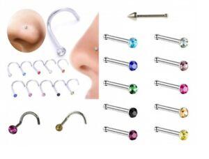 Nose Earrings Bars Stainless Steel Diamond shapes lot colours Men Women Girls