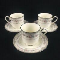 Set of 3 VTG Cups and Saucers Noritake Shenandoah Floral Platinum 9729 Japan