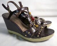 Women's Brown Leather Jeweled Wedge Heel Sandals Shoes by Franco Sarto Size 9