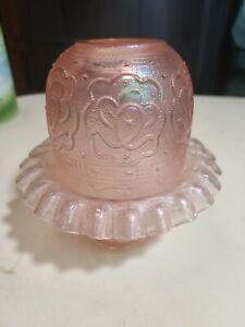 LOVELY Vintage Fenton Velva Rose Persian Medallion Fairy Lamp 75th Anniversary