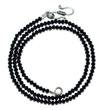 """Black Spinel Gemstone 3 mm Rondelle Faceted Beads 13"""" Strand Brass Necklace BH11"""