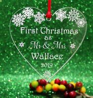 Personalised  First Christmas as Mr & Mrs Christmas Heart Tree Decoration