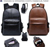 Men Women Girl Black Brown Leather Work School Casual Backpack Handbag Bag New
