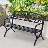 "Outsunny 50"" Garden Park Loveseat Cast Iron Outdoor Bench Black"