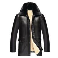 Winter Men Leather Jacket Slim Fit Warm Thick Fleece Lined Fur Lapel Outwear New