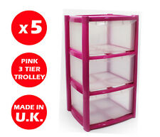 5 x 3 DRAWER PLASTIC STORAGE DRAWER - CHEST UNIT - TOWER - WHEELS - TOYS - PINK