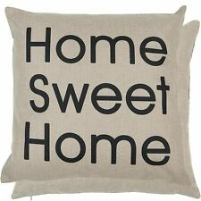 "VINTAGE HOME SWEET HOME BLACK BEIGE LINEN LOOK CUSHION COVER 18"" - 45CM"