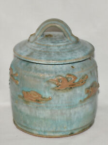 """Vintage Hand Thrown Terracotta Pottery Jar 7"""" Glazed Turquoise Canister w Lid"""