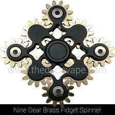 Fidget Spinner Toy | 9 Nine Gear Brass Hand Spinner | Torqbar EDC ADHD |  Black