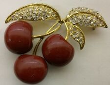 JOAN RIVERS signed  Gold & Rhinestone Lucky  Red CHERRY  Brooch Pin