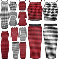 Womens Dogtooth Strappy Crop Top Ladies Mini Midi Bodycon Skirt Swing Dress