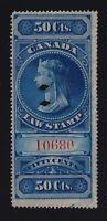 Canada VD #FSC4 (1876) 50c Victoria Law Stamp Revenue Used