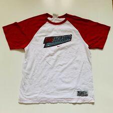 Nike Athletics T-Shirt Youth Size XL White Red Baseball Tee Short Sleeve Crew
