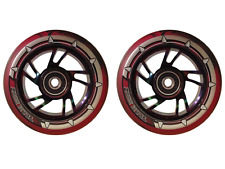 Pair Pro Black & Red Mix Pu Kids Child Swirl Stunt Wheels 100mm Rainbow Core