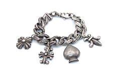 HEAVY Vtg ITALIAN Modernist GIANNI VERSACE Silver CURB Chain CHARM Bracelet