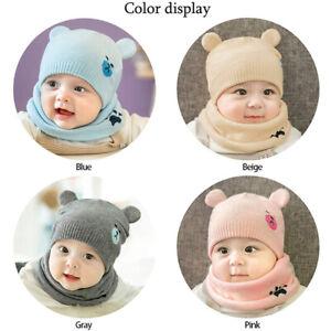 Newborn Toddler Kids Baby Boy Girls Winter Warm Hat Knit Beanie Cap Scarf Sdh