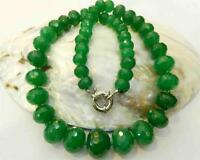 """10-18mm Natural Green Emerald Faceted Gems Rondelle Beads Necklace 18.5"""" AAA"""