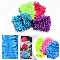 Microfibre Wash Mitt Gloves Car Van Surface Dust Cleaning Polish Noodle Mesh Mit