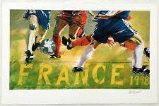 Soccer Midfield Scramble  Limited Edition Lithograph 1992 Olympics - Aldo Luongo