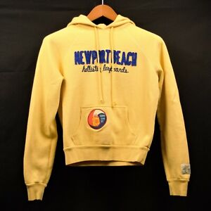 Hollister Yellow Newport Beach Riders Club 22 Text Patch Logo Pullover Hoodie